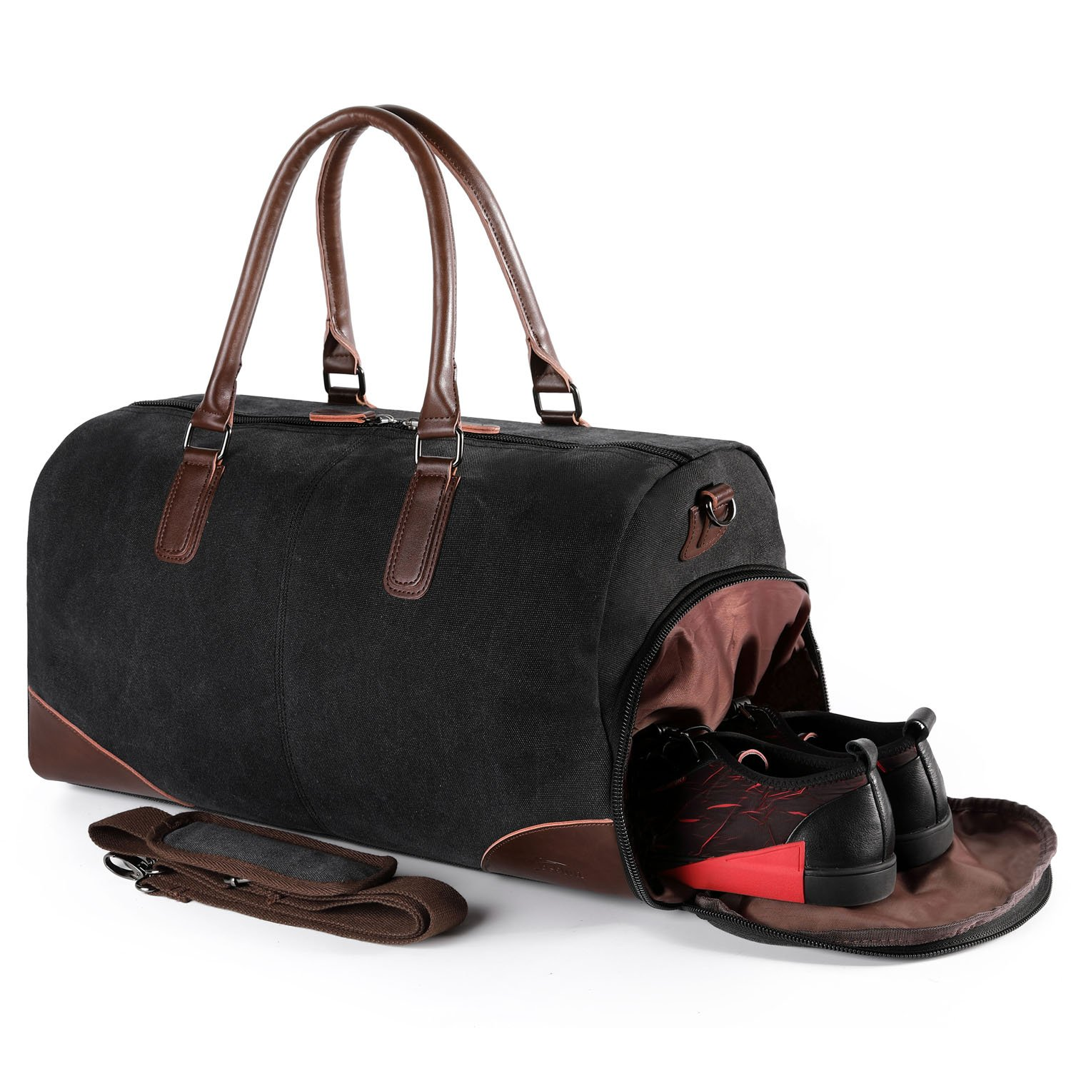 Travel Flight Bag, Leather Canvas Tote Bags with Laptop Compartment