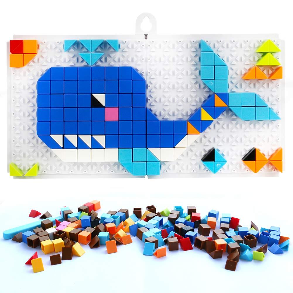 Jigsaw Puzzle Pegboard Construction Blocks 248pcs Mix Colour Mushroom Nails Creative DIY Mosaic Toys Birthday Christmas Gift for Boys Girls 3 4 5 Years Old