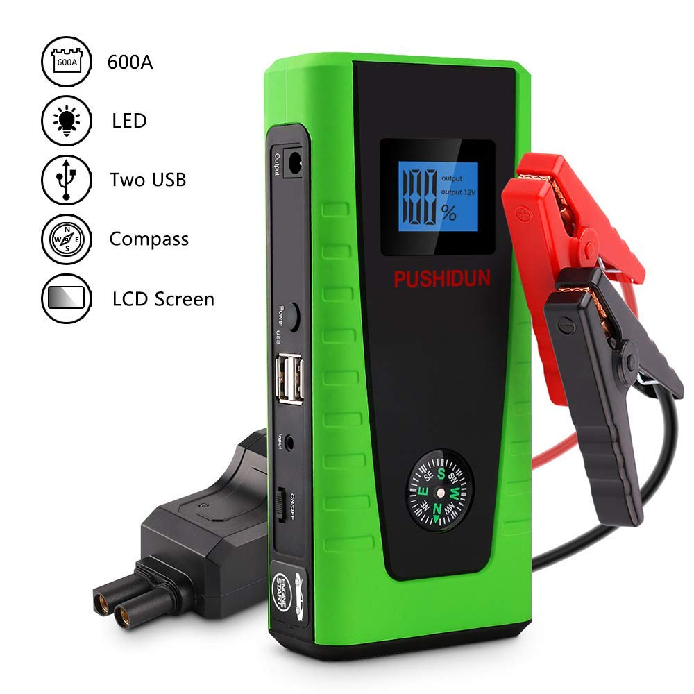 PUSHIDUN Car Jump Starter Battery Booster 600A 12000mAh Car Starter