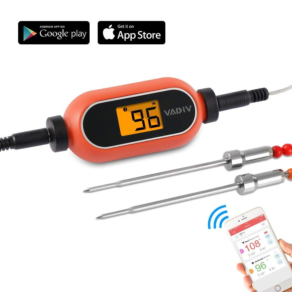 VADIV Food Thermometer, Wireless Remote Meat Thermometer with Dual Probe for Kitchen Cooking