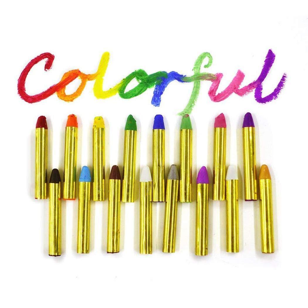16 Pcs Children's Face Color Crayons Kit Body Oil Paint Clown Fans Devil Ghost Party Gifts for Kids