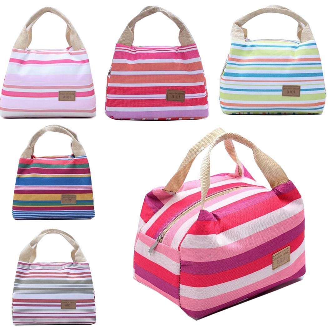 Minlop Insulated Thermal Cooler Lunch Bag Handbag Pouch Picnic Storage Box Portable and Reusable with Zipper for Picnic School Office