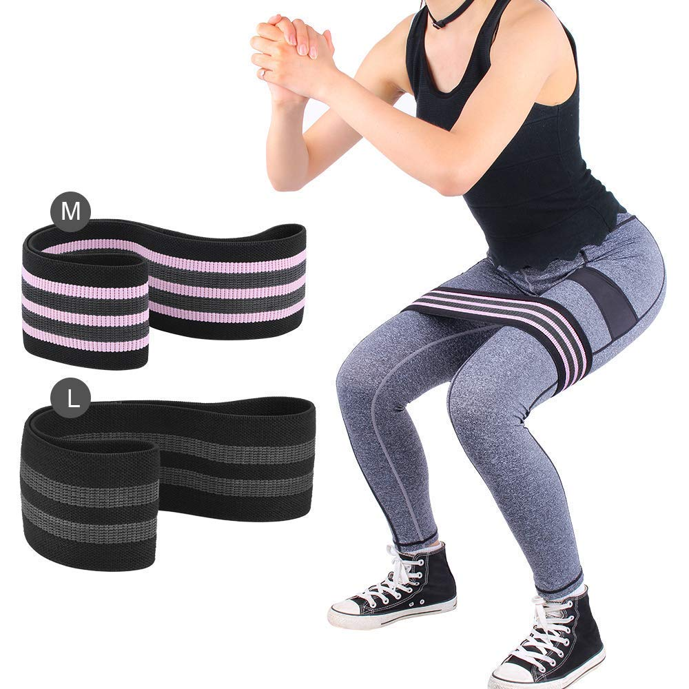 Glute Resistance Bands Set 2 Pack Hip Booty Band Glutes Activation Circle Exercises Loop Elastic Anti Slip