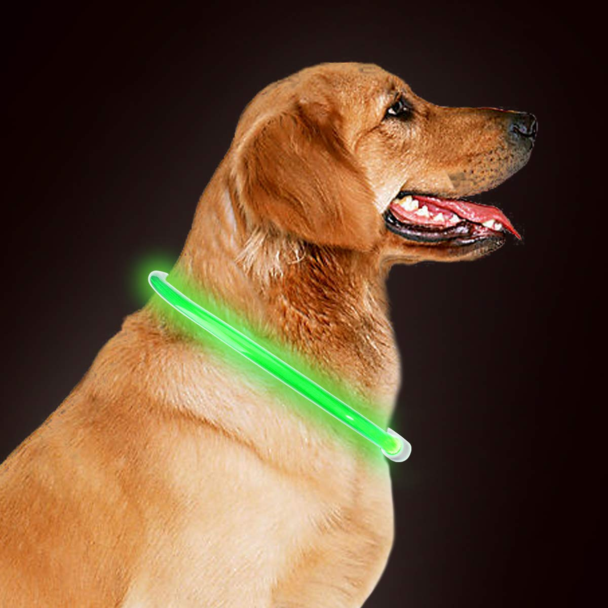 akyu Light Up Dog Collar, Waterproof LED Dog Collar Adjustable Size Rechargeable Safe Collar for small medium large dogs