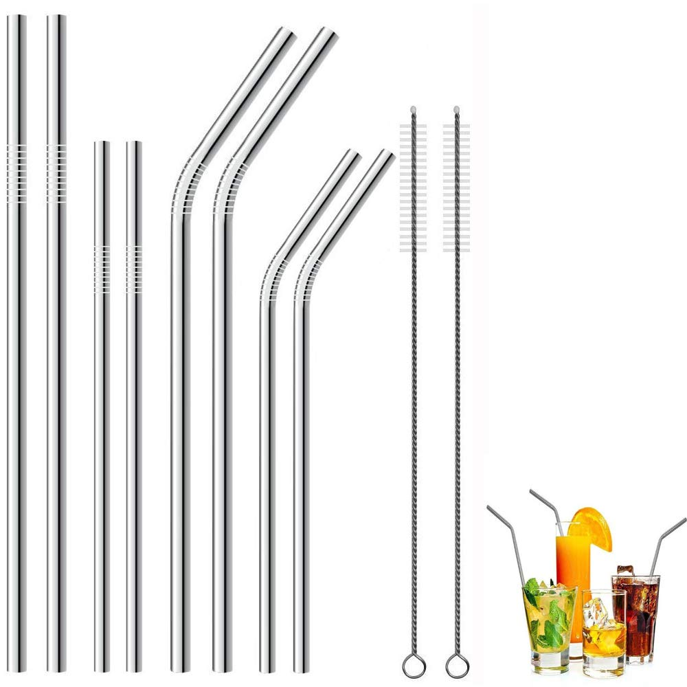 Metal Straws,HTLY SPR,Set of 8 for 30oz 20oz Tumblers Cups Mugs,Metal Drinking Straw with Cleaning Brush for 30 20 Ounce Yeti