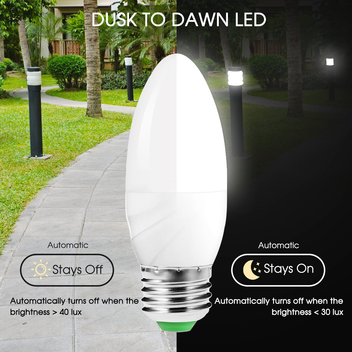 JandCase 6W=60W Light Sensor Candle Bulb, Day White 6000K Dusk Till Dawn Bulb, E27 LED Bulb 550LM Auto On/Off Night Light Bulb, Smart Indoor/Outdoor Lamp Lighting for Garage, Hallway, Porch, 2 Pack