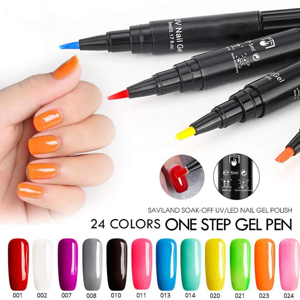 Vobome 24 Colors One Step Gel Nail Polish Pen, 1 PC Long Lasting Nail Shining Glitter Gel Nail UV Gel Nail Polish
