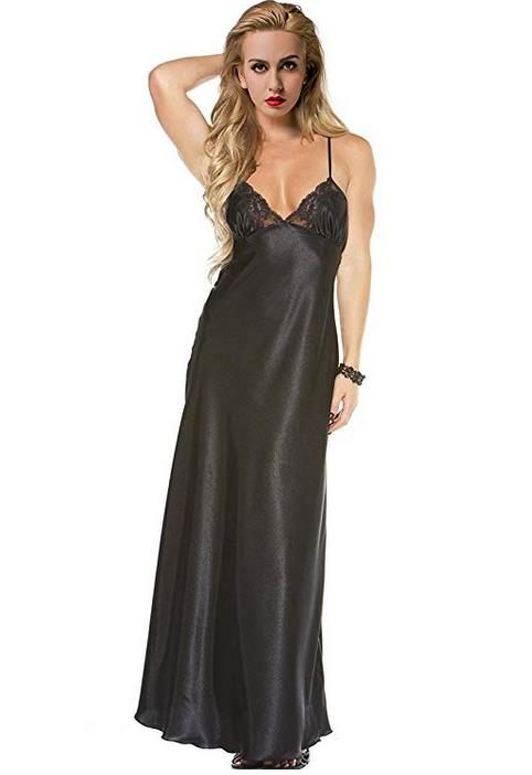 Women's Long Nightdress Full Length Nightwear Lace Trimmed Sleepwear