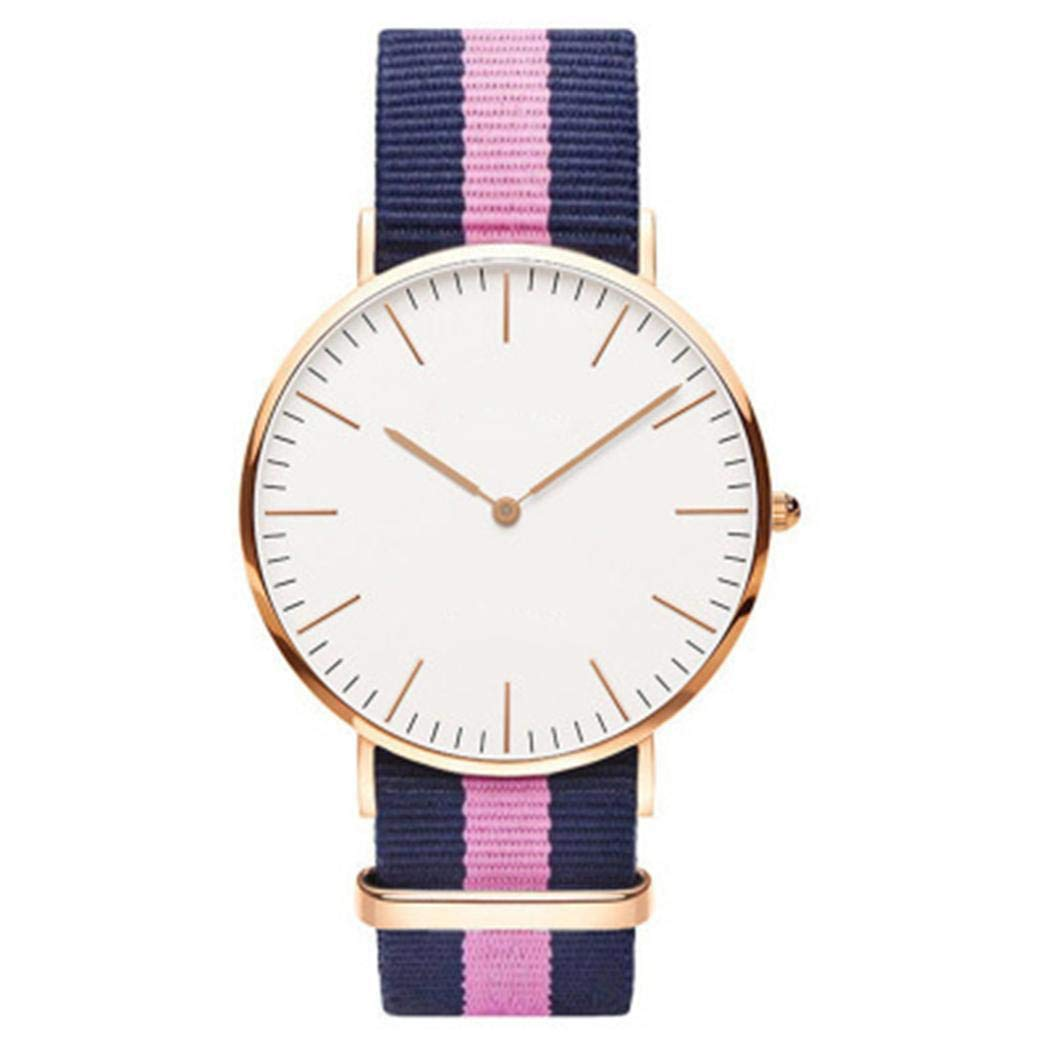 MURIEO Unisex Watch- Couple Casual Cloth Belt Contrast Color Round Quartz Watch
