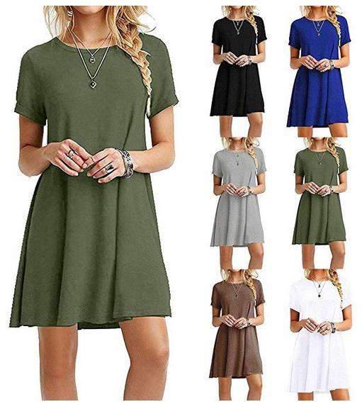 Olenai Women Casual O-Neck Short Sleeve Solid Mini Dress Dresses