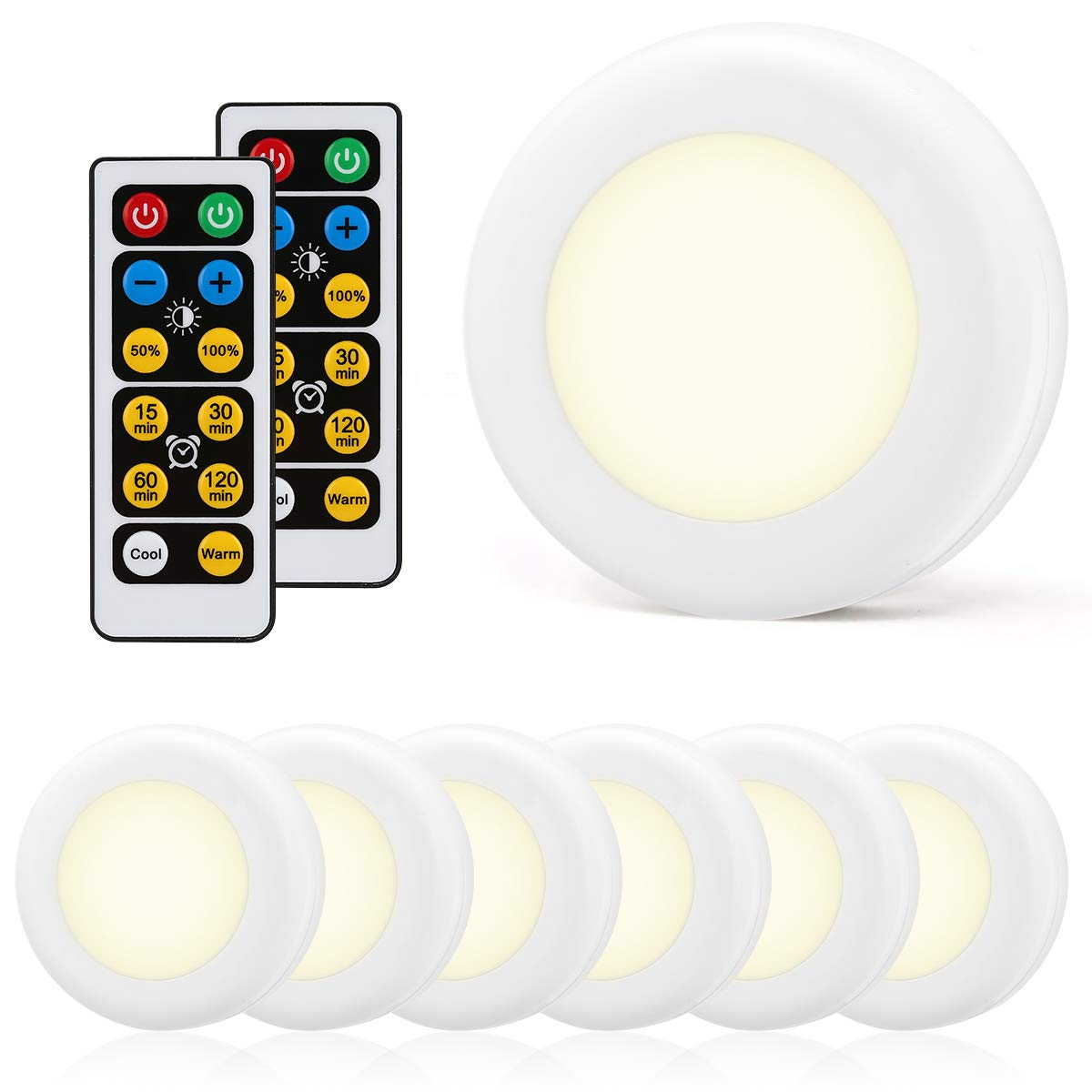 LOHAS LED Under Cabinet Kitchen Light with Remote Control, Color Convertible Puck Light