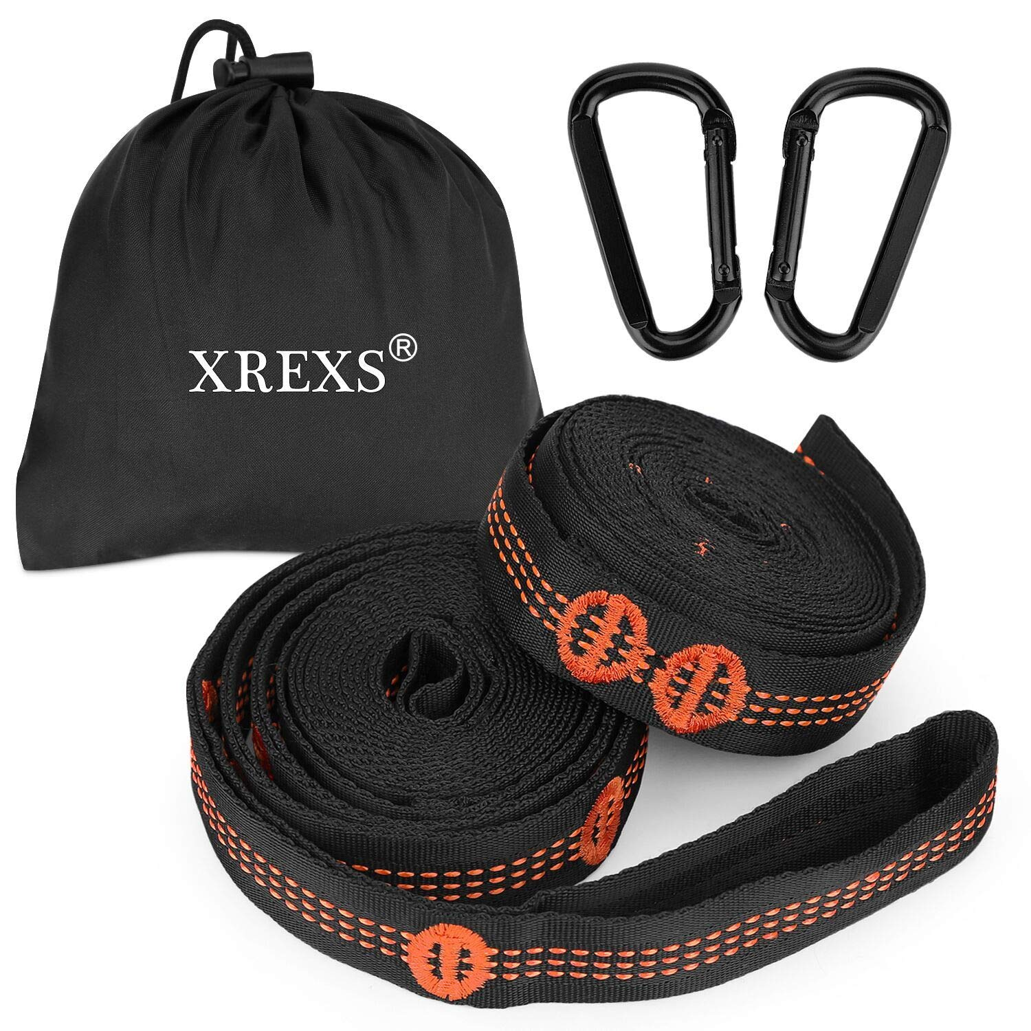 XREXS Outdoor Camping Hammock Straps Accessories Multi-function Hammock Straps, Hammock Tree Hanging Straps, 10 Rings Children's Garden Swing Rope Tied Nylon Straps Holds up 200KG