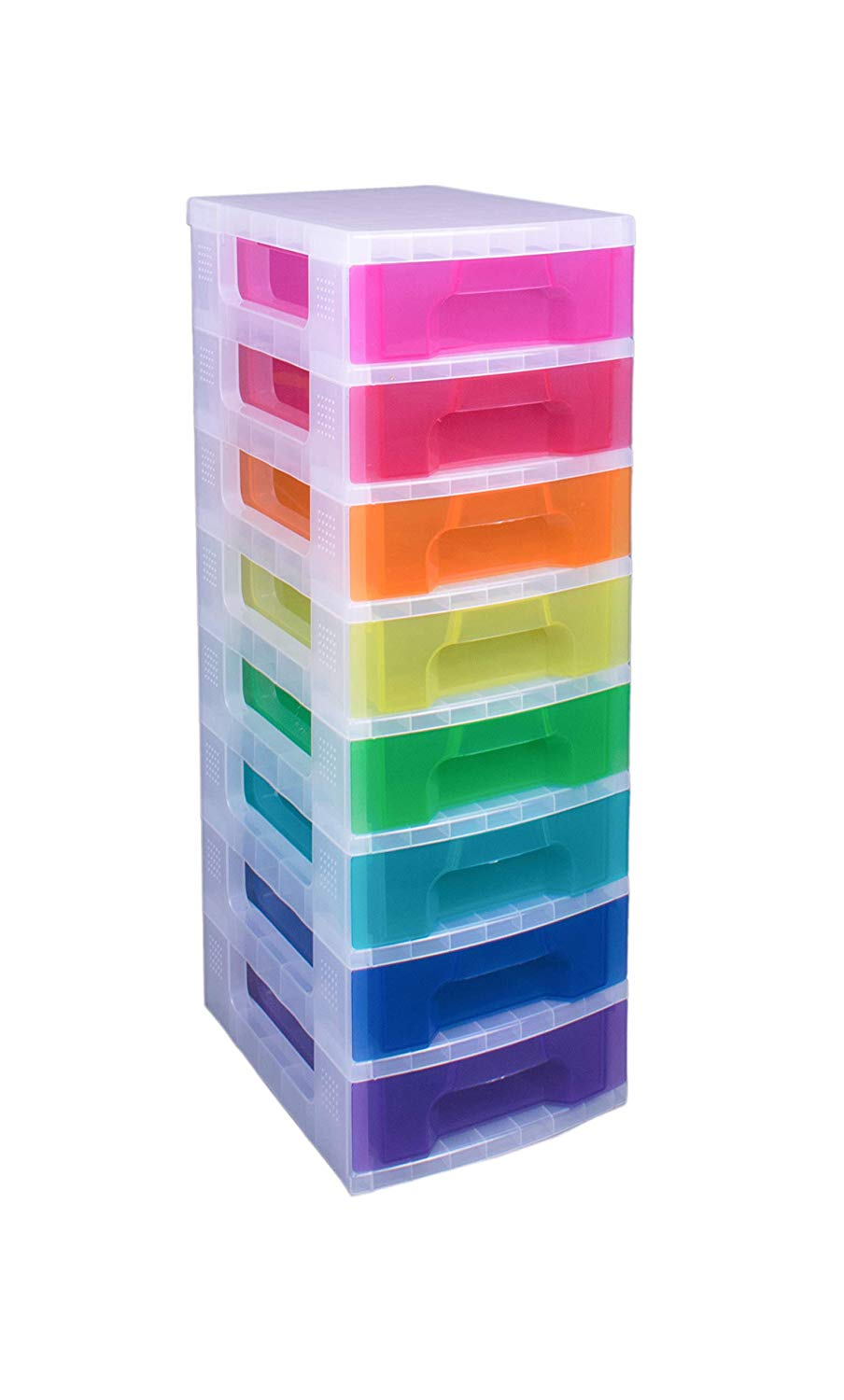 Drawer Tower 8×7 Litre Clear/Rainbow