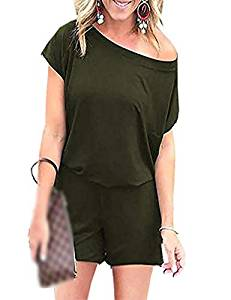 Women Casual O Neck Short Sleeve Off Shoulder Romper Playsuits Short Jumpsuits