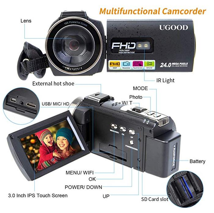 Camcorder Video Camera UGOOD 24 MP Full HD 1080P IR Night Vision WIFI Remote Control Digital Camcorder with External Microphone