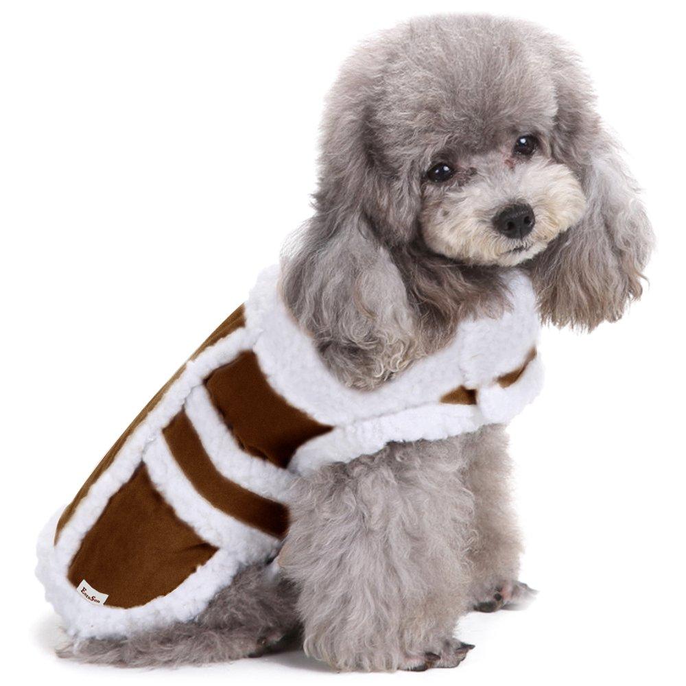 Dog Winter Coat, EocuSun Pet Clothes Cat Coat Puppy Jacket Apparel Shearling Fleece Kitty Dog Vest for Small Medium Large Dogs Cat Puppy, M