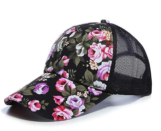 Rose Printed Floral Baseball Cap for Women Men Mesh Sports Caps Breathable Casual Golf caps Cap