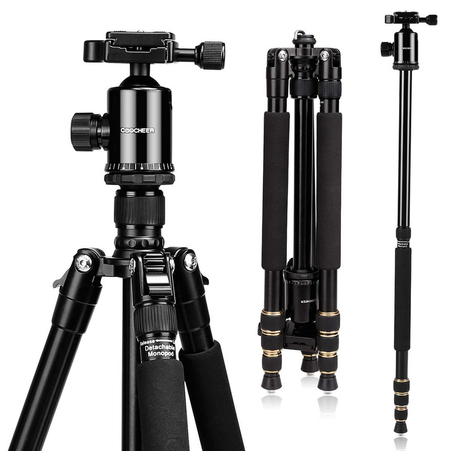 Camera Tripod, Lightweight Compact Tripod Monopod with 360 Degree Ball Head, Quick Release Plate + Bag