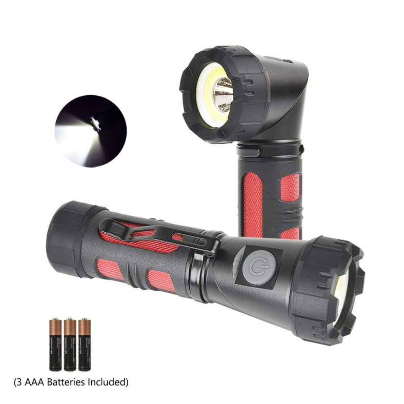 Magnetic Adjustable-Head Portable LED Flashlight with Batteries