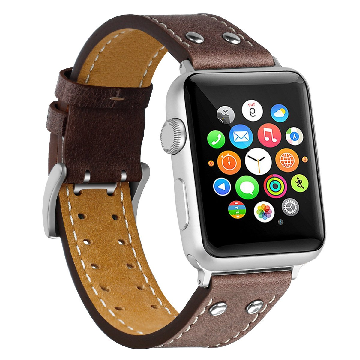 Strap Compatible for Apple Watch 42mm Genuine Leather Replacement Band
