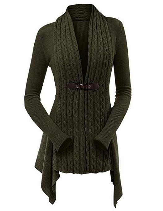 CharMma Women's Open Front Draped Asymmetrical Long Cable Knit Sweater Cardigan