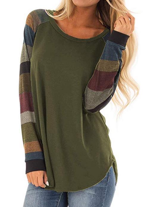 Olidarua Women's Casual Long Sleeve Tops Shirts Round Neck Stripe Blouses