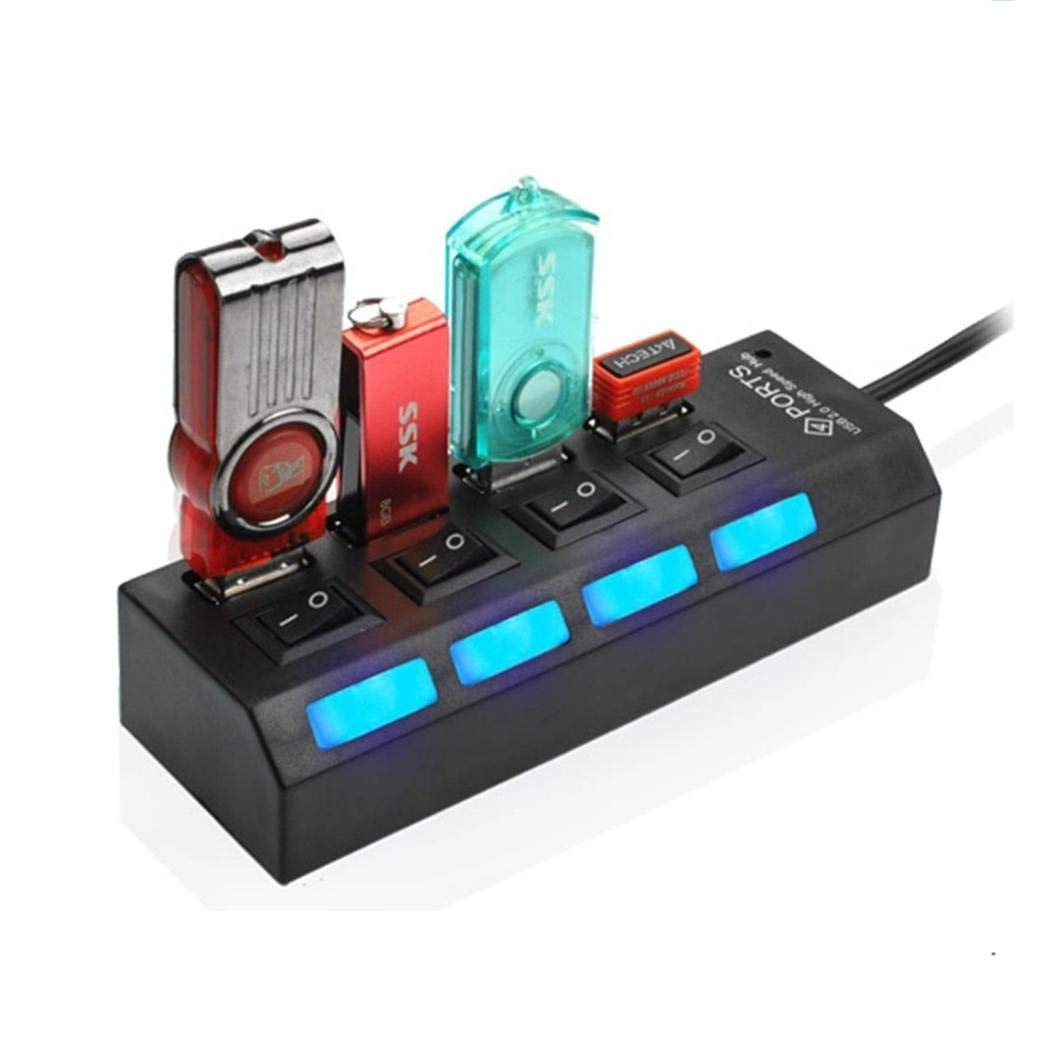 MURIEO 4-Port USB 2.0 Hub Splitter Switches for Mobile Phone Hub Powered