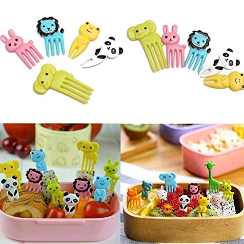 Olenai Durable Practical Cartoon Mini Animal Cartoon Forks Food Box Decoration Forks Forks