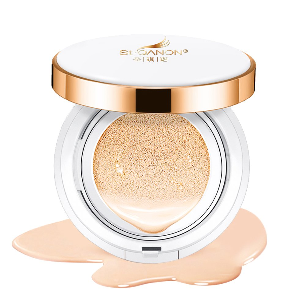 STQANON BB Cream Cushion Foundation Makeup Long Lasting Cover Moisturizing Compact Natural Full Face Hydrating Concealer Medium Concealing SPF50 PA+++ 15g