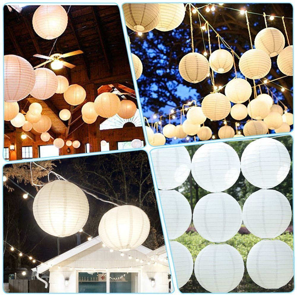 Haichen 12pcs 12 Inch Paper Lanterns Lamps with Warm White Waterproof LED Party Lights