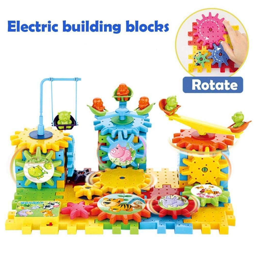 Acecoree Kids 81 PCS Rotating Gear Electric Building Blocks Set Educational Toy Bricks & Blocks