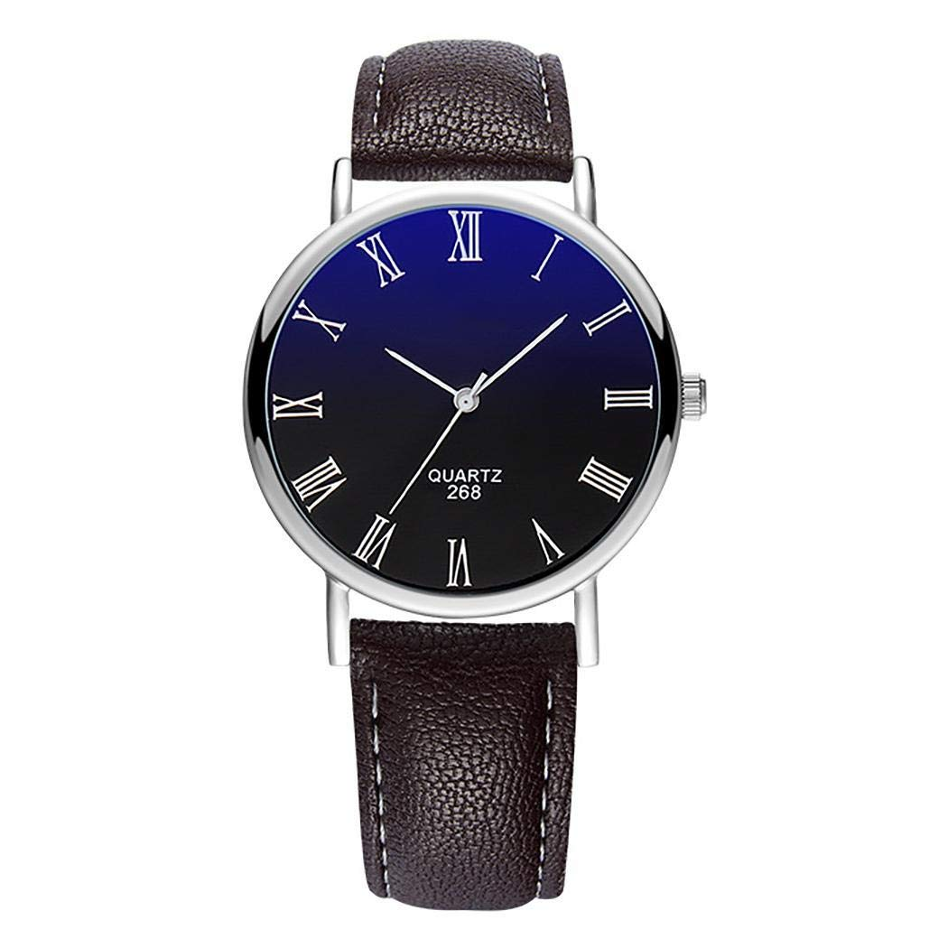Men's Waterproof Simple Leather Watch Casual Wrist Watch Quartz Watches Analog