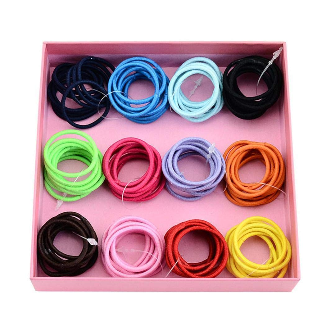 100 Pcs/Set Kids Fashion Casual Cute Headwear Elastic Hair Ring