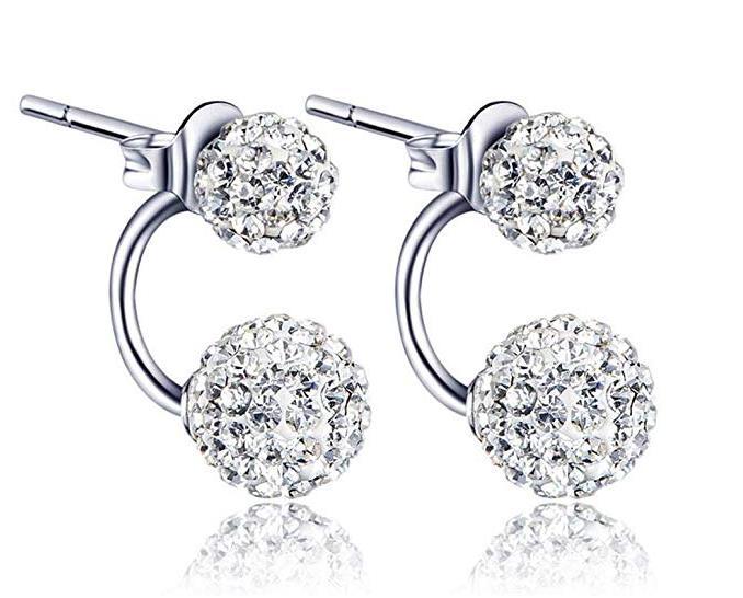 x1 Pair Women Jewelry Silver Double Beaded Rhinestone Crystal Stud Earrings