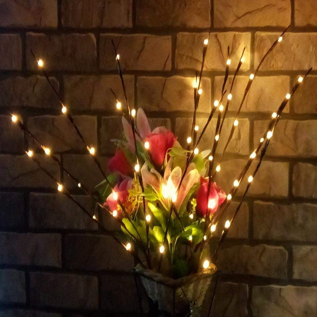 5.7×5.9″ Festive Lighted Twig Branches 20 LEDs Lights Artificial Tree Willow Branches for Home Decoration, Battery Not Include