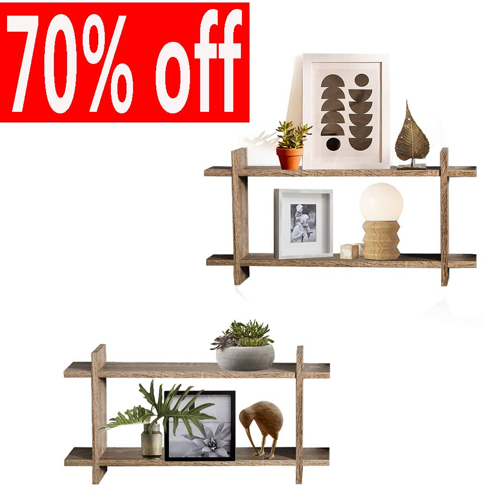 Wall Shelves Set of 2 Cube Floating Shelves Storage MDF Display Shelves in Retro Style
