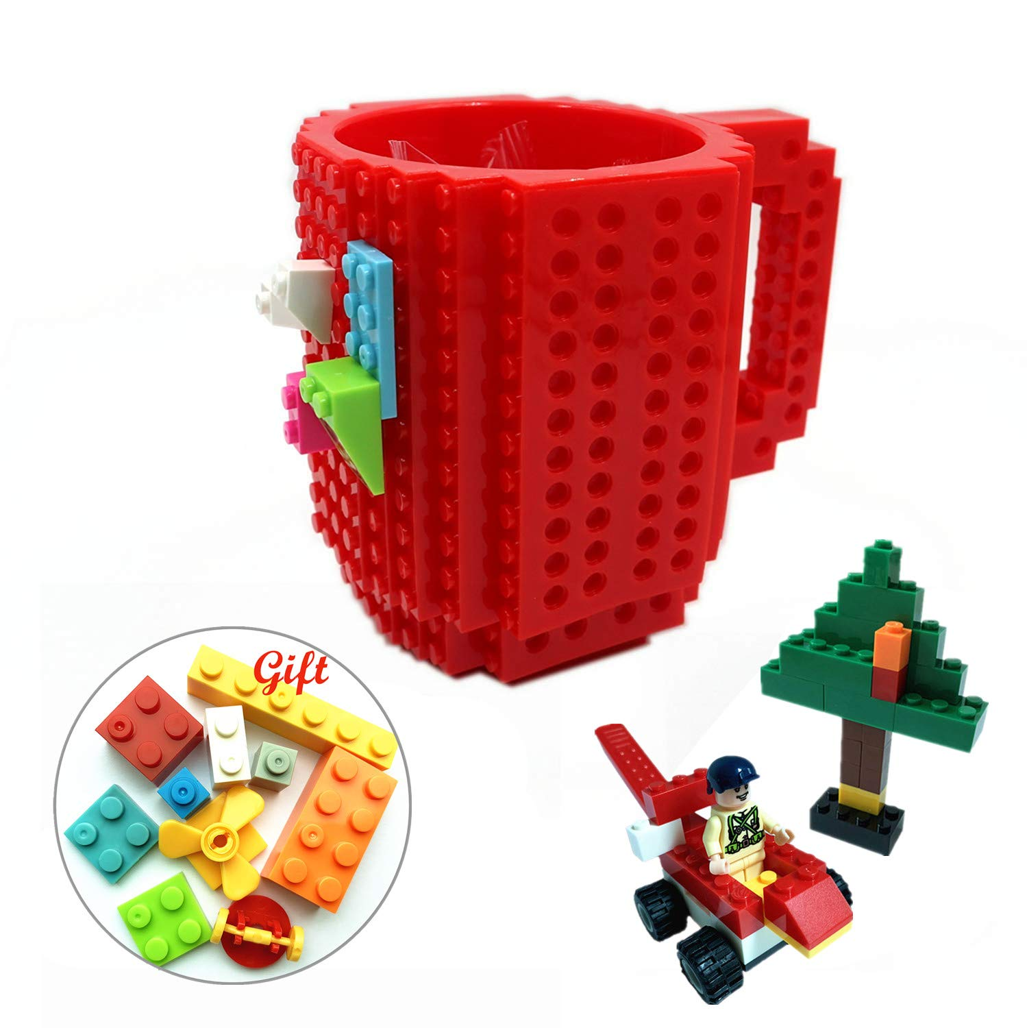 Lumsburry Build-On Brick Mug DIY Coffee Cup Creative Building Blocks for Coffee Tea Beverage Drinking Funny Xmas(Red)
