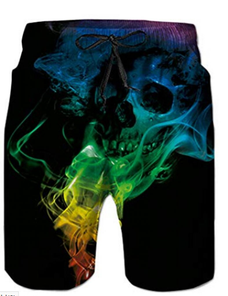 NEWISTAR Mens 3D Skull Graphic Ugly Funny Beach Shorts Running Swimming Casual Short