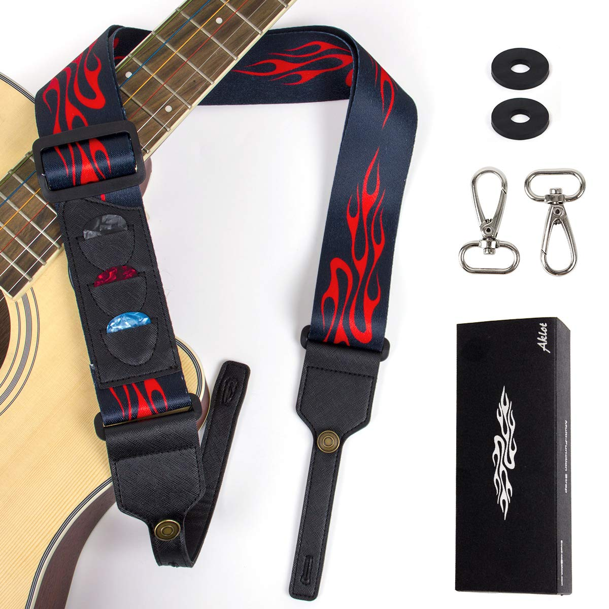 Guitar Strap for Acoustic Electric Guitars Banjo Ukulele With Pick Holders & Picks Banjo Hooks