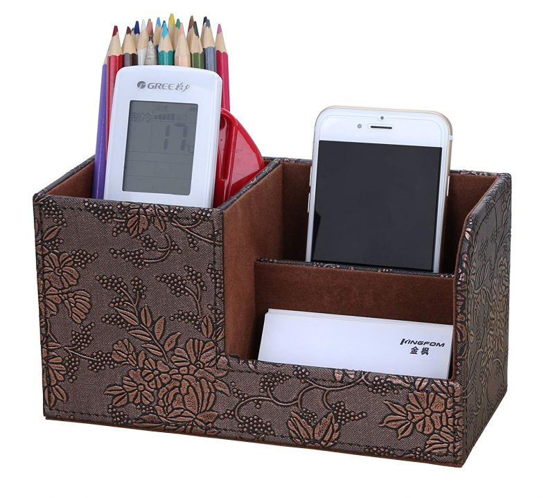 LiLan Desk Tidy Organiser Caddy Multifunction Leather Pen Pencil Pots Holder Office Desk Stationery Supplies Organizer