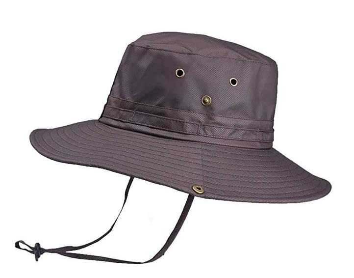 Men Casual Patchwork Sunscreen Hat Sun Cap Bucket Hats Sunshade Cap with Adjustable Chin Strap