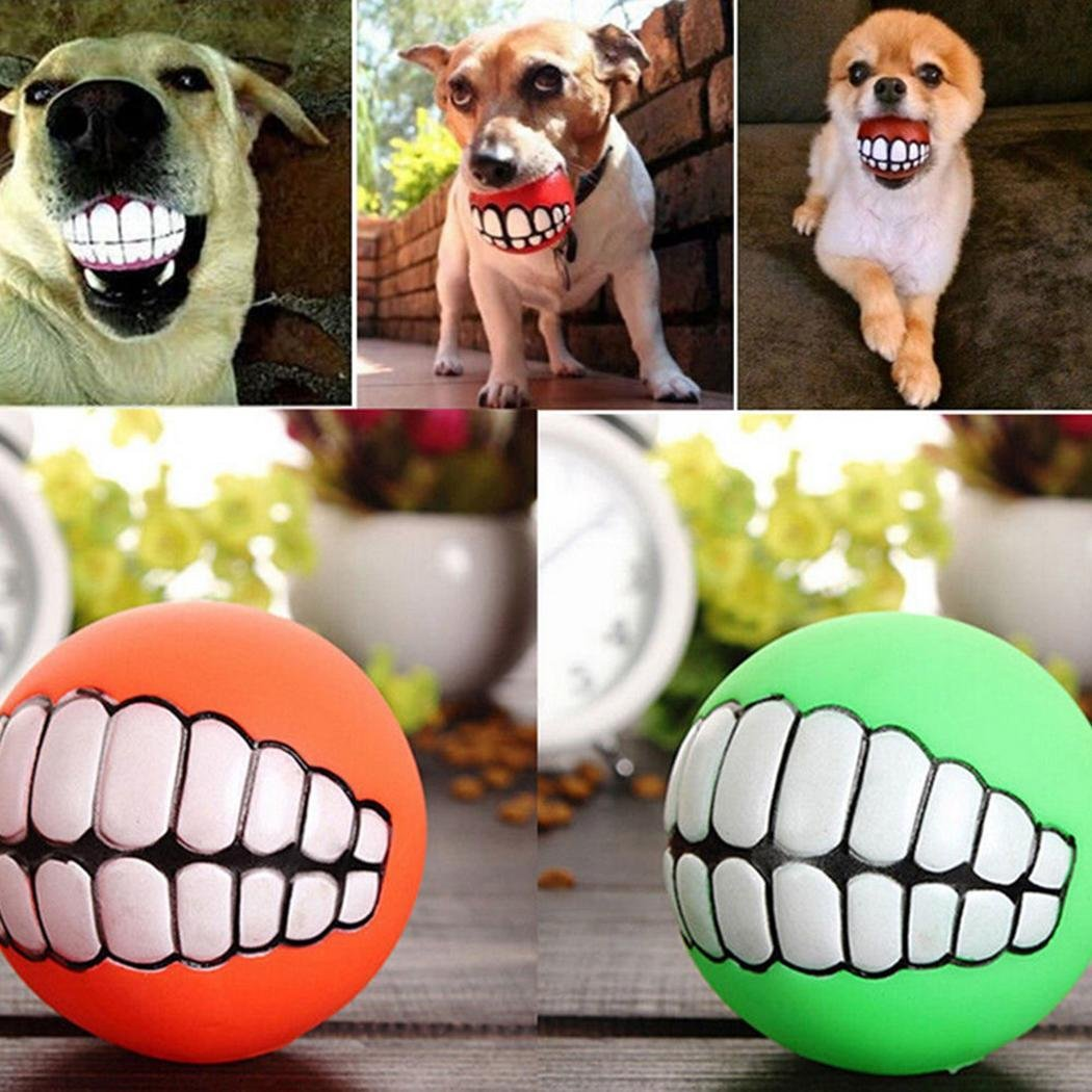 1Pc Pet Dog Ball Teeth Toy Chew Squeaker Squeaky Sound Dog Puppy Play Toys