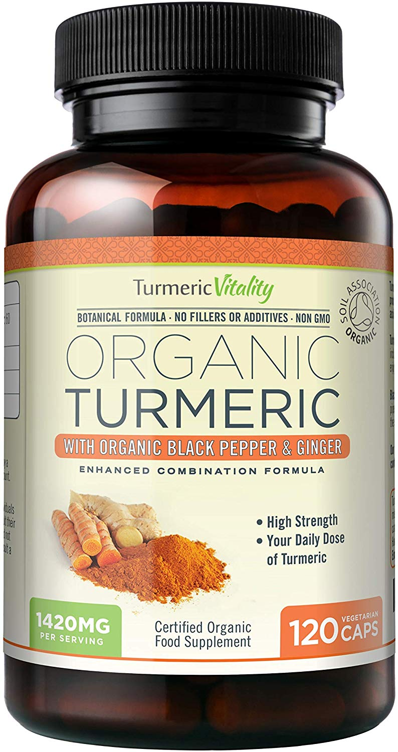 Turmeric Vitality Organic Turmeric Curcumin 1420mg  for Maximum Absorption of Curcumin | 120 Veg Capsules