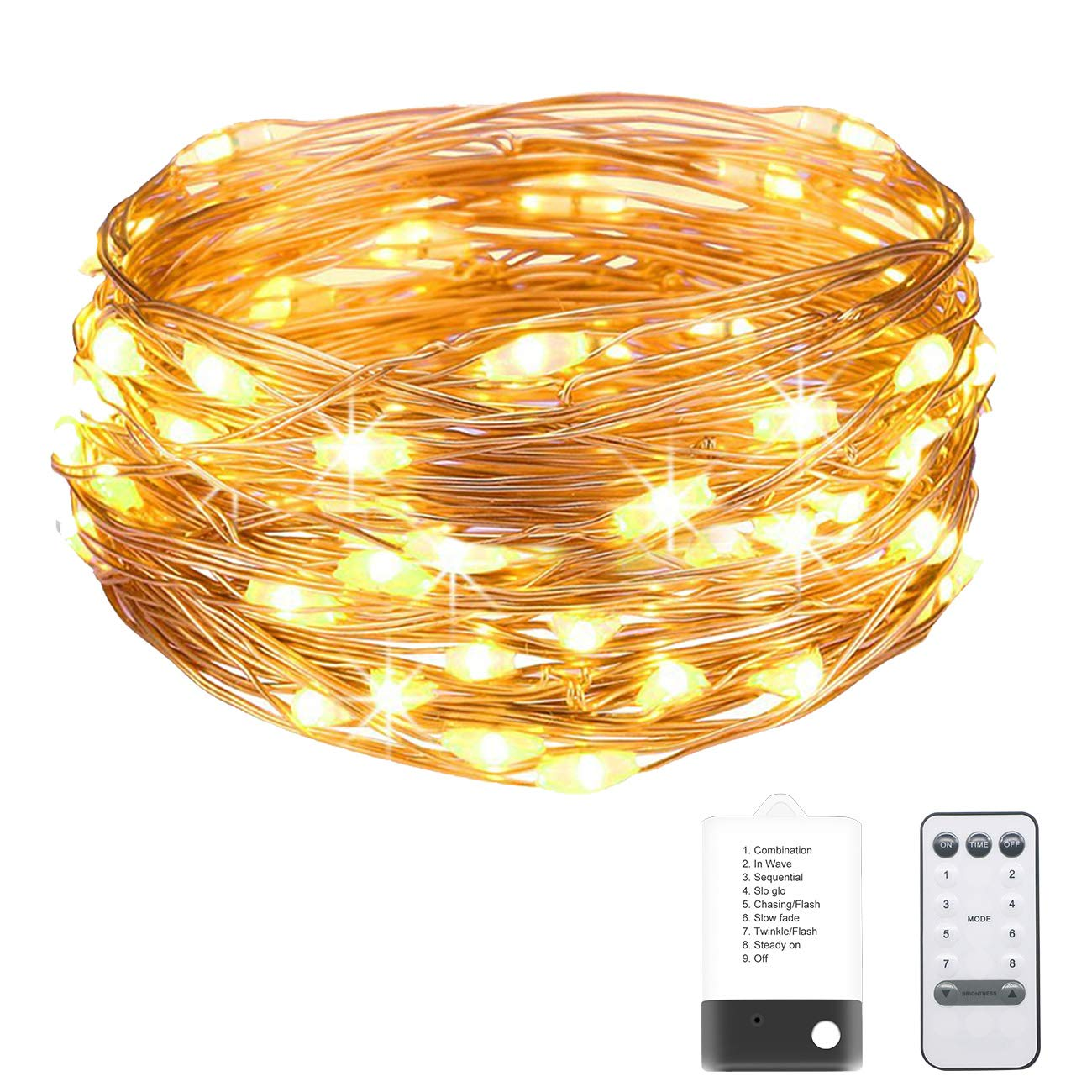 Kolpop Fairy Lights, Battery/USB Powered Copper Wire Lights with Remote Control