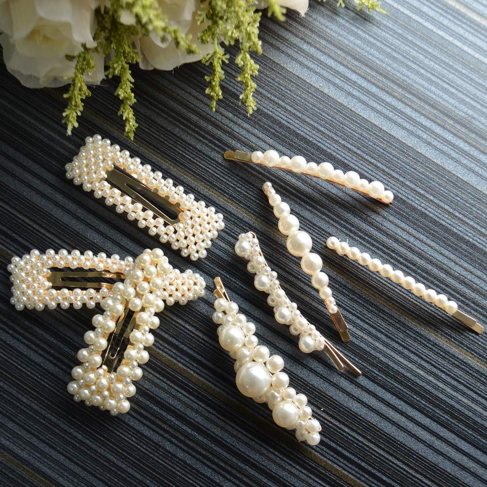 8 pcs Pearl Hair Pins Hair Clips Hair Barrettes Hair Accessories Artificial Pearl for Girls