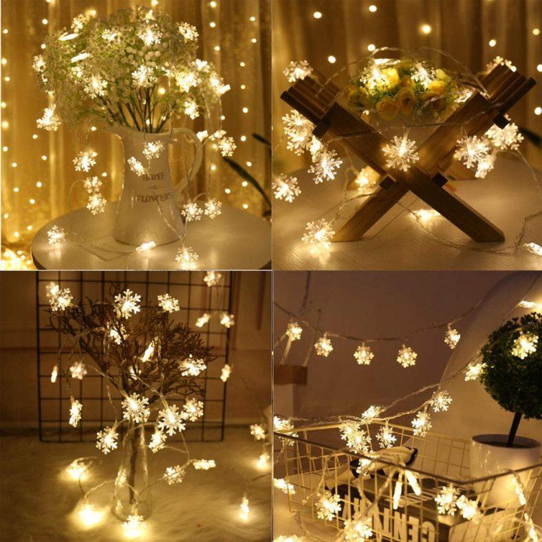 LED Curtain Lights Window Curtain 2.1m/6.9ft Snowflake Fairy Lights String Lights