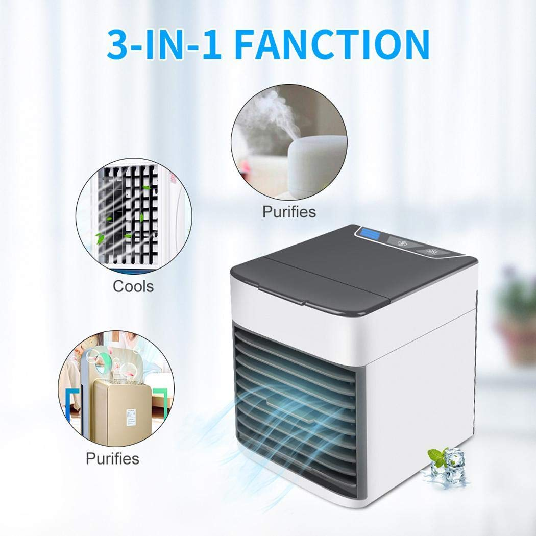 Sliwei 3 In 1 Mini USB Arctic Personal Air Cooler With LED Night Light,Can As A Cooler, Humidifier Or Purifier