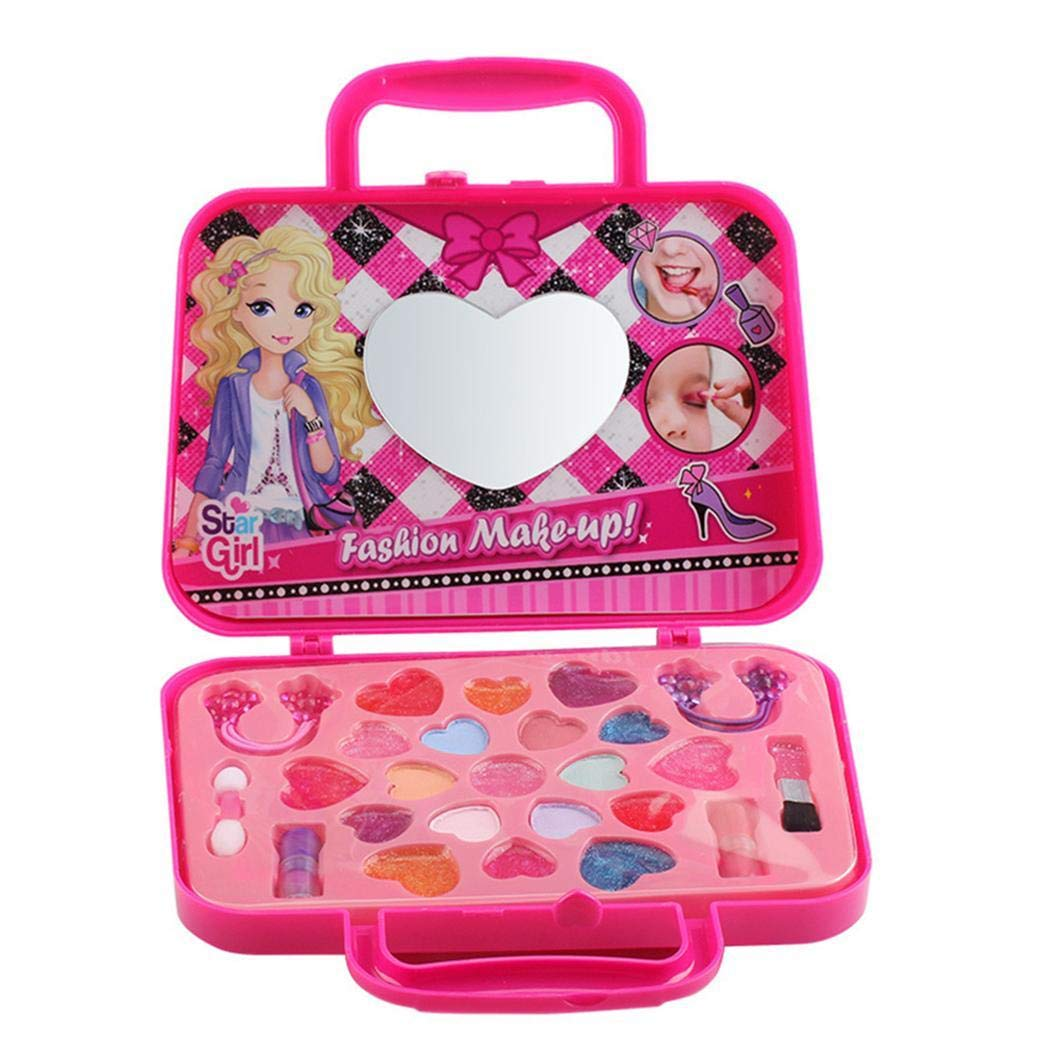 Girl Casual Heart Shape Children Cosmetics Makeup Box Toys Set
