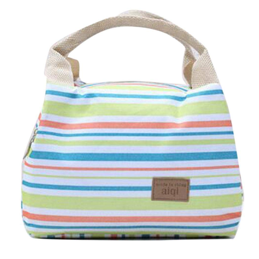 Reusable Lunch Box Portable Canvas Striped Zipper Picnic Lunch Bag