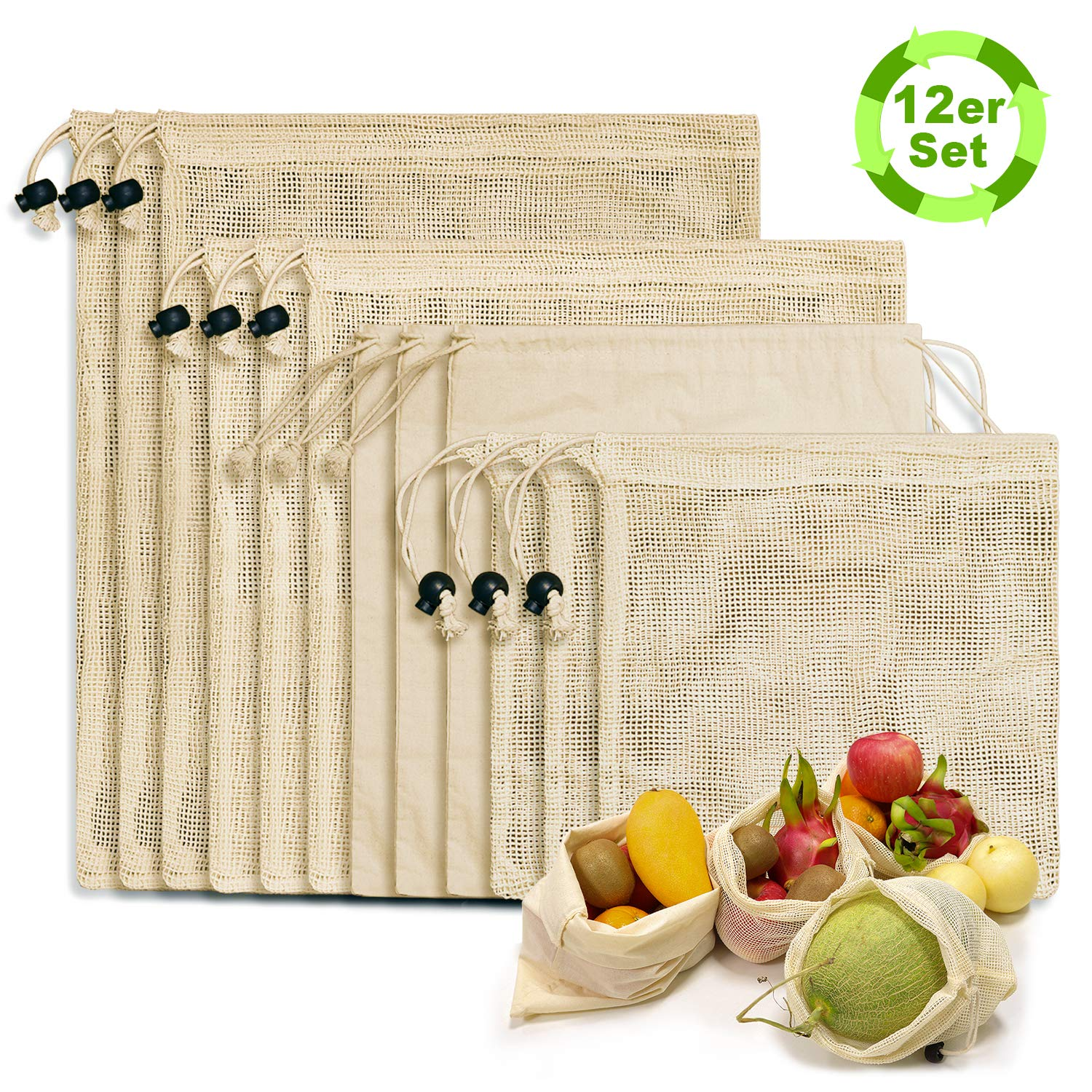 N NEWKOIN Reusable Shopping Bags, 12-Set Reusable Product Bags Organic Cotton Washable Plastic-Free Bags Zero Waste Shopping Net Bags